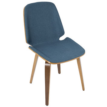 Serena Mid-Century Modern Dining Chairs in Blue Fabric and Walnut Wood - Set of 2