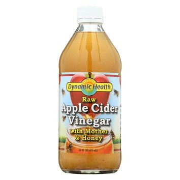 Dynamic Health Apple Cider Vinegar - With The Mother And Natural Honey - Glass Bottle - 16 Oz