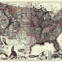 United States Showing Routes Of Principal Explorers And Easrly Roads And Highways
