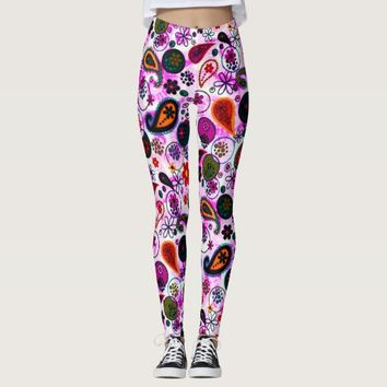 Cute colorful paisley patterns leggings