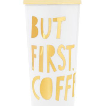 But First, Coffee Thermal Travel Coffee Mug by Bando - White + Gold