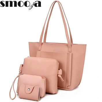 SMOOZA 4pcs bags Women Simple PU Leather Shoulder Crossbody Bag Female Fashion Day Clutch Bag Card Holder Purse Bag Set Bolsa