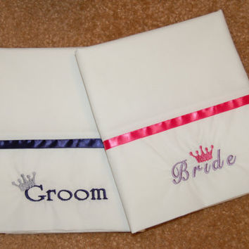 Bride and Groom Embroidered Pillowcases