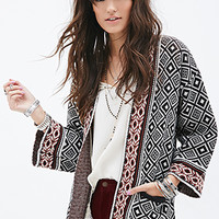 FOREVER 21 Mixed Tribal Pattern Cardigan Black/Cream