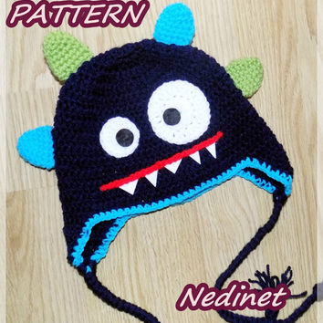 Monster crochet hat pattern, crochetpattern, monster hat pattern, baby hat pattern, boy hat crochet pattern, baby boy, pdf pattern, blue hat