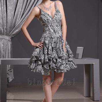 A-line StraplessV-line  Knee-length Panther print and  Satin prom dress