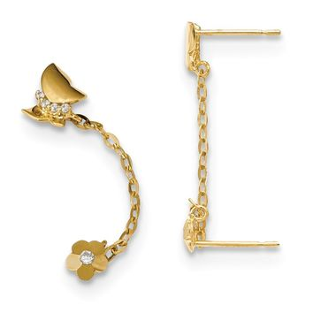 14k Madi K CZ Double Post with Chain Butterfly and Flower Earring