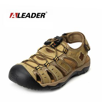 Mens Leather Outdoor Sandals New Summer Outdoor Shoes Sport Sandals Men Breathable Beach Slippers Leather Sandals
