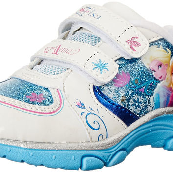DISNEY Frozen Light-up Athletic Running Shoe (Toddler/Little Kid) White/Blue Toddler (1-4 Years) 10 M US Toddler '