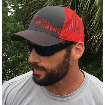 Signature Series Snapback Mesh Trucker Hat - Red and Gray