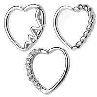 BodyJ4You 3PCS 16G Daith Ear Piercing Heart Shape Silver Tragus Helix Earring Cartilage Hoop Set