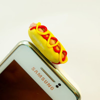 hot dog , Dust Plug  Phone Dust Stopper Earphone Cap Headphone Jack Charm for iPhone 5 4 4s iPad Samsung s2 s3, 3.5mm