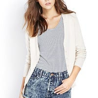 FOREVER 21 Fitted V-Neck Cardigan Taupe