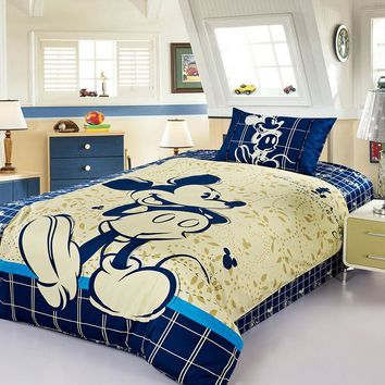 100% Cotton bed linen 3d mickey mouse bedding sets minnie kids duvet cover set twin queen size 3/4PCS pillowcase