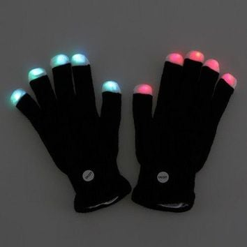 Festival Party Colorful Flash Fingertip Light LED Gloves Prop