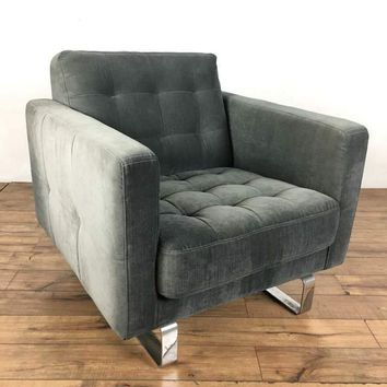 Mid-Century Modern Style Gray Upholstered Chrome Armchair