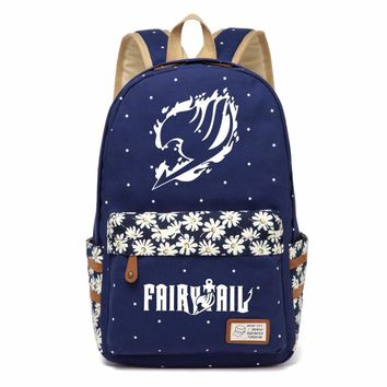 Anime FAIRY TAIL Cosplay Backpack For Women Girls Cute Canvas bag Flowers wave point Rucksacks backpack travel Shoulder Bag
