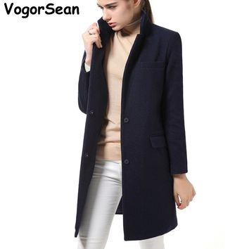 VogorSean High Quality Women New Autumn Winter Wool Coats Jackets Wool Blends Vintage Slim Coat Long Wollen Coat Manteau Femme