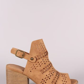 Qupid Perforated Nubuck Slingback Chunky Mule Heel