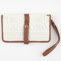 Crochet Overlay Snap Wallet Ivory One Size For Women 24230016001