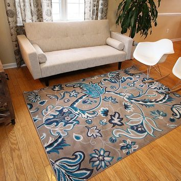 5035 Coral Brown Blue Floral Contemporary Area Rugs