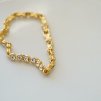 Vintage Rhinestone Bracelet, Gold and Crystal, Gift for Her