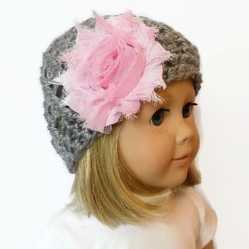 Doll Hat AG Doll Beanie Knit Doll Clothes Gray and Pink