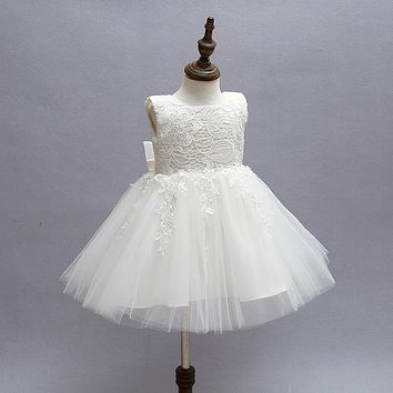 White First Communion Dresses For Girls 2016 Brand Tulle Lace Infant Toddler Pageant Flower Girl Dresses for Weddings and Party