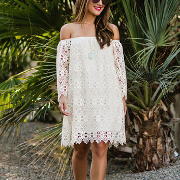 Rowan Ivory Crochet Off the Shoulder Dress