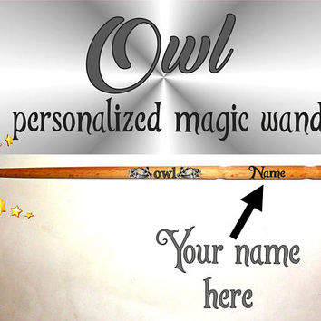 Owl Personalised Magic Wand Owls. Personalized Magic Wand. Custom Name Magic Wand. Wizard Wands, Fairy Wands, Birds Magic Wand, Wood wands