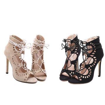 Summer Fashion Hollow Cross Straps Women High Help Leather Sandals Heels Shoes