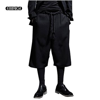 Summer New Men Short Pant Fashion Casual Loose Harem Pants Trousers Male Street Black Punk Style Wide Leg Pant K985