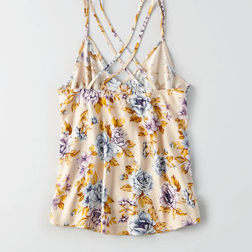 AEO Printed Button Cami , Cream