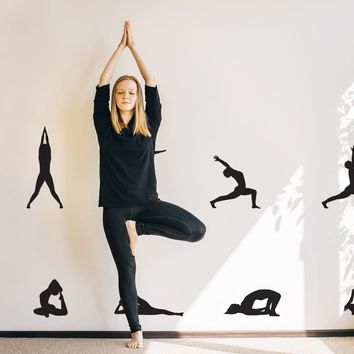10 Yoga Poses Silhouette Position Wall Decal. Great for Yoga Studio or Home. #267