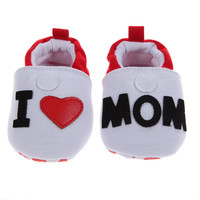 Baby Shoes Toddler First Walkers Flat Soft Slippers I Love MOM Antislip Newborn Shoes White