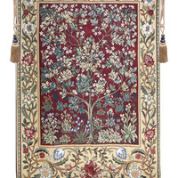 Tree of Life in Red Tapestry Wall Art
