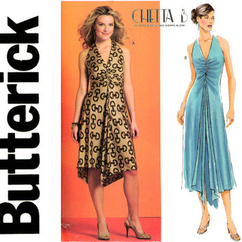 Evening Halter Dress Pattern Bust 36 to 42 UNCUT Butterick B4975 Chetta B Design Hi - Low Handkerchief Hem Plus Size Womens Sewing Pattern