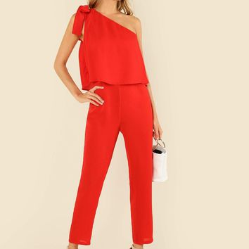 38c1f3c55518 Tied One Shoulder Ruffle Embellished Jumpsuit