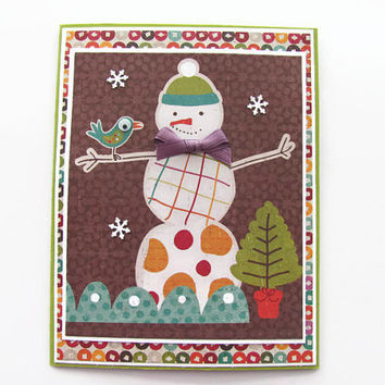 Snowman Christmas Card, Multi Colored, Googly Eyes, Holiday Card