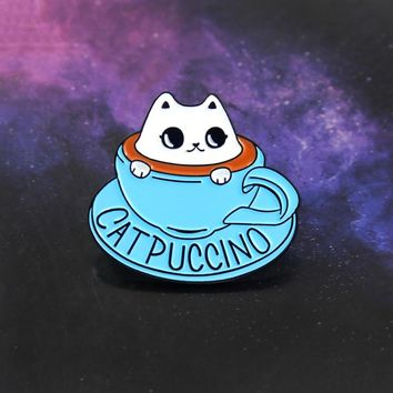 Blue Coffee Cup Kitten Brooch Cute Cat Animal Coffee Cup CAT PUCCINO Enamel Pin Clothes Hat Badge Accessories Friends Kids Gifts