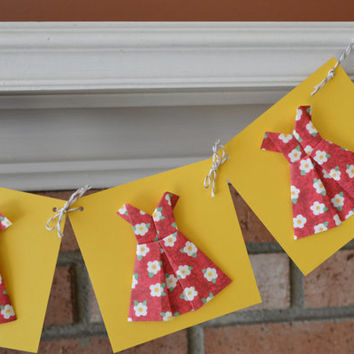 Origami Dress Banner, Girls Birthday Party Banner, Bridal Shower Decoration, Yellow and Red Dress Form Banner