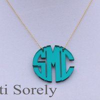 """Mirror Acrylic Initials Necklace 1.5"""" (Order  your initials and favorite color) -Silver chain"""