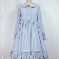 [$89.00]Empire Waist Long Sleeves OP Lolita Dress - Rose Mary by Souffle Song