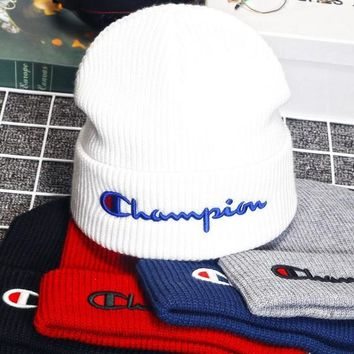 High Quality Champion Embroidery knitted Beanies Hat Cap