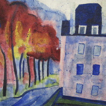 Abstract Red Trees Blue House Landscape Giclee Print From Original Painting, Choose Size