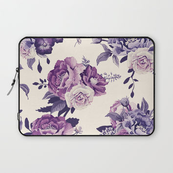 Purple floral boho pattern Laptop Sleeve by printapix