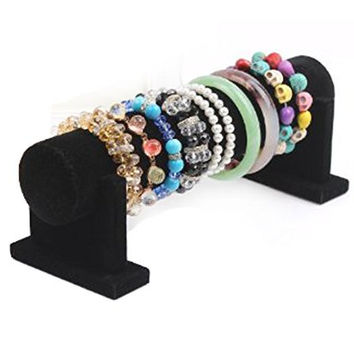 Elife Black Velvet 1 Tier Detachable T-Bar Jewelry Bracelet Rack Organizer Display Stand Holder