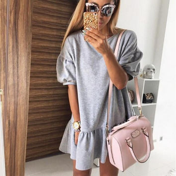 Grey Flounce Hem Mini Dress