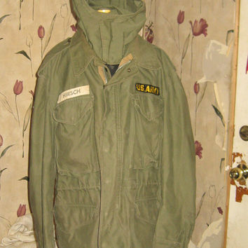 Vintage 1950s US ARMY   no  107  hooded field jacket  with detachable hood