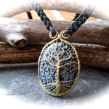 Tree of Life Necklace, Snowflake Obsidian Wire Wrap Brass Pendant on Celtic Braided Black Hemp, Norse Yggdrasil Kabbalah Healing Tree
